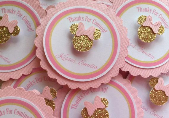 Pink and gold Personalized Minnie mouse Thank you tags. Minnie mouse party. Pink Minnie mouse. Pink and gold birthday