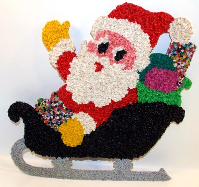 Vintage Christmas Plastic Popcorn Decoration ~ Santa in his Sleigh
