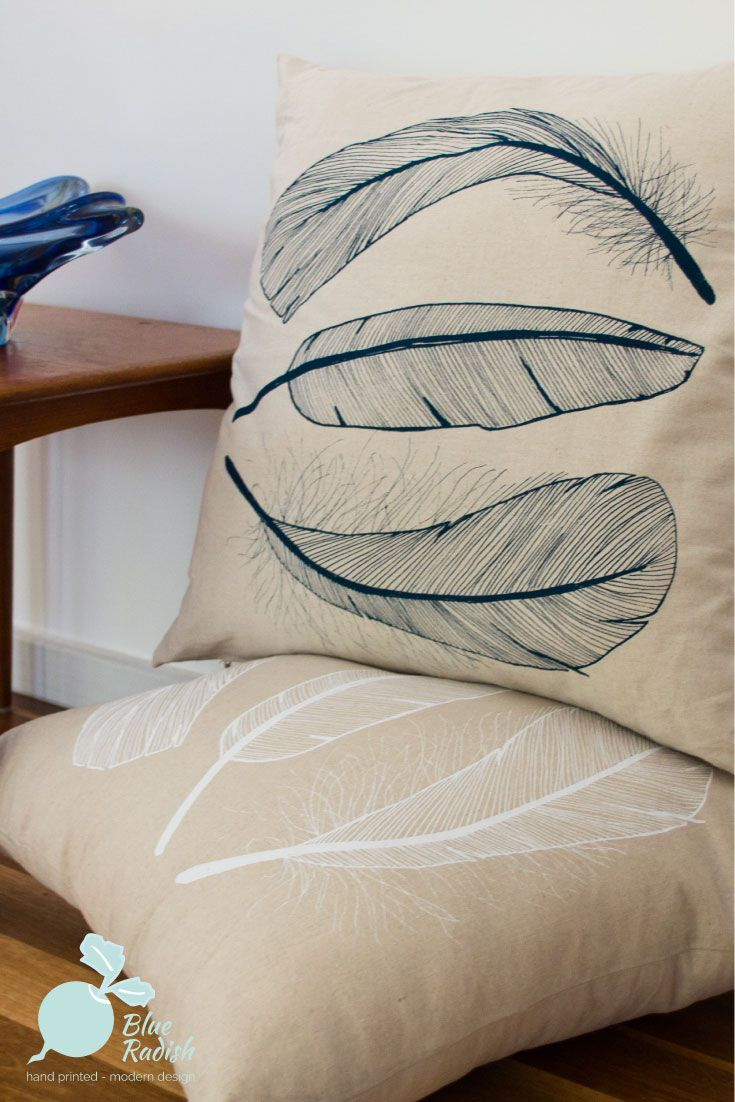 50cm cushion cover with screen printed Feather design in navy ink on natural linen-cotton fabric. Designed, handprinted and hanndmade in Canberra, Australia.