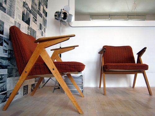 """fotele zające, Bunny chair"""". Prod. Świebodzińska Fabryka Mebli, typ 300-177."""