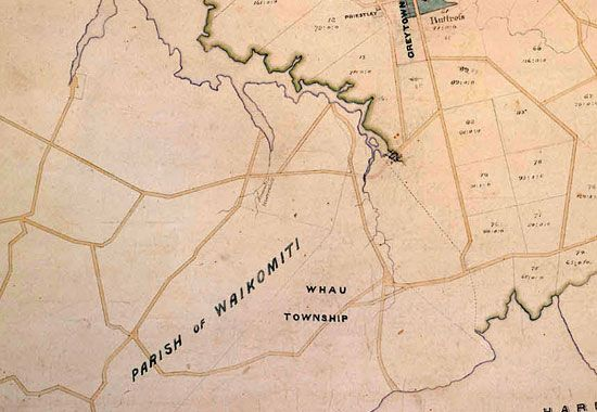 Detail from map of the Green Bay/New Lynn area from 1863  Special Collections, Auckland City Libraries (NZ) Maps Online 4178. From Green Bay to Gondwanaland