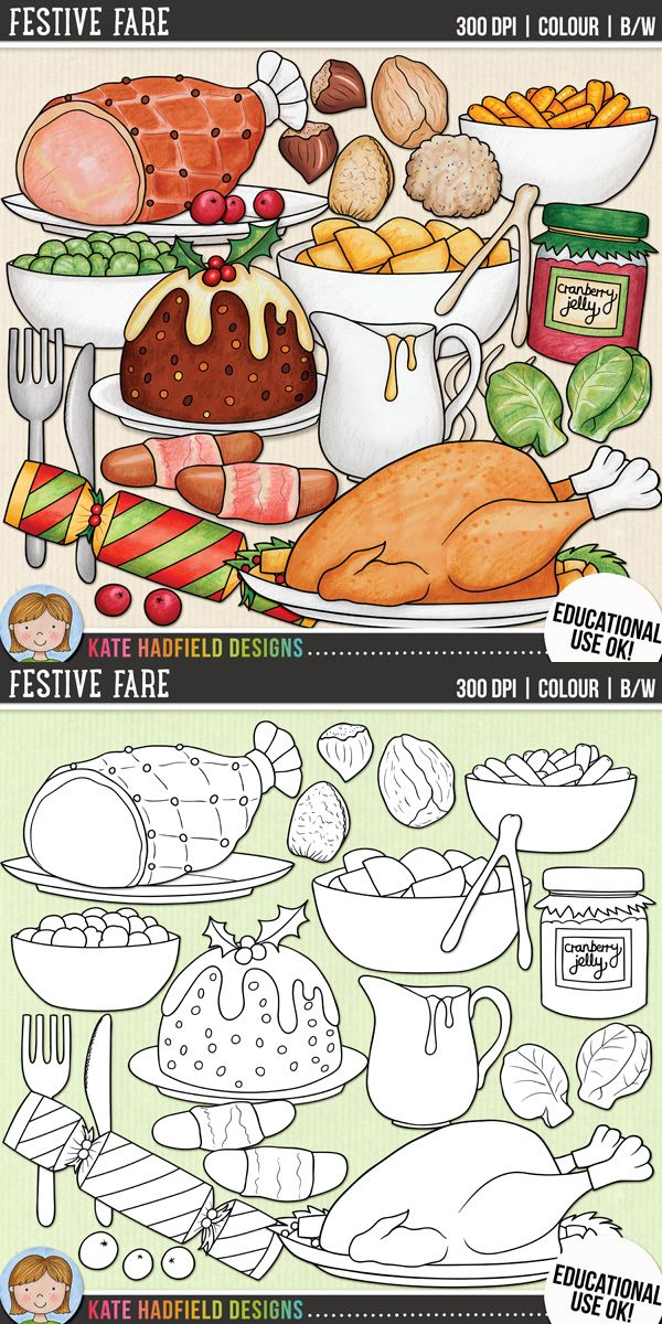 Christmas Food Clip Art for teachers by Kate Hadfield Designs | Teachers Pay Teachers. Supplied in both hand-painted coloured versions and black and white outlines!