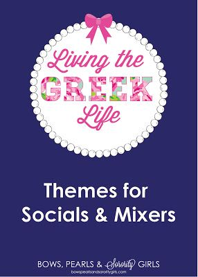 Need ideas for themes for your next social or mixer? Check out the ultimate list of social themes on Bows, Pearls & Sorority Girls!  http://www.bowspearlsandsororitygirls.com/2013/07/living-greek-life-social-themes.html