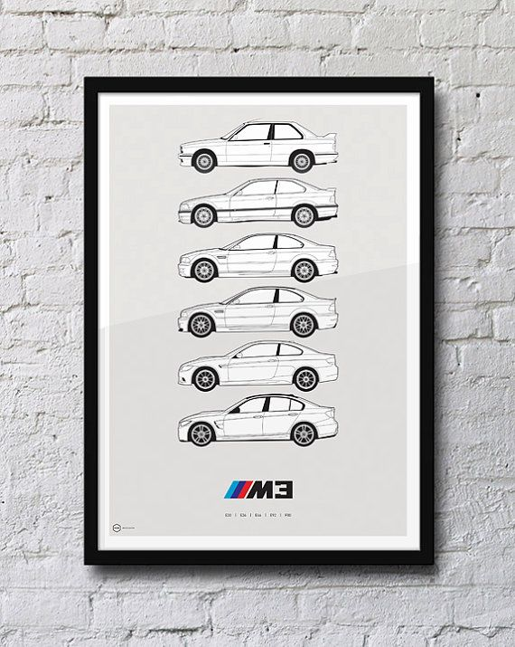 BMW M3 Generations Poster by HivePosters on Etsy