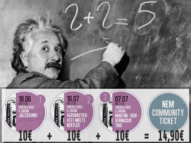 Nella nostra Community la matematica è un'opinione! Tutto il Girone Jazz con 14,90€ e non solo, anche Cristina Donà Bobo Rondelli Ginevra Di Marco Natalia Gutman Diodato... ISCRIVITI SUBITO http://bit.ly/1o5i9Wg