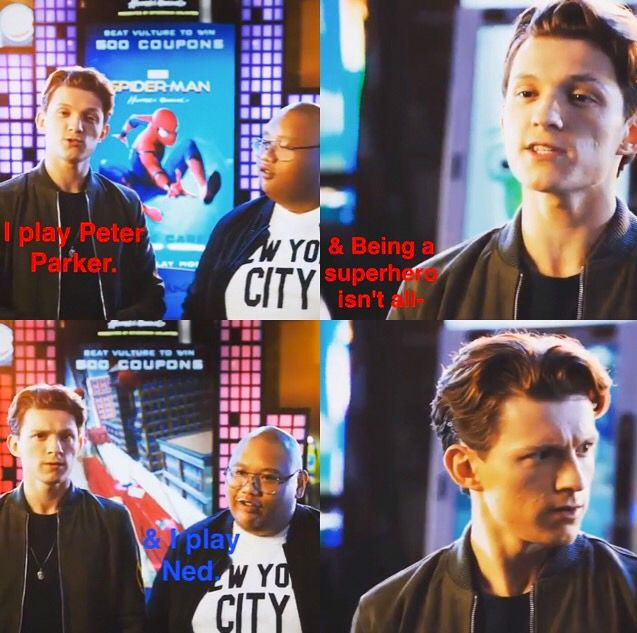 Tom Holland & Jacob Batalon   Jacob interrupts Tom     Spiderman   Spider-Man Homecoming  