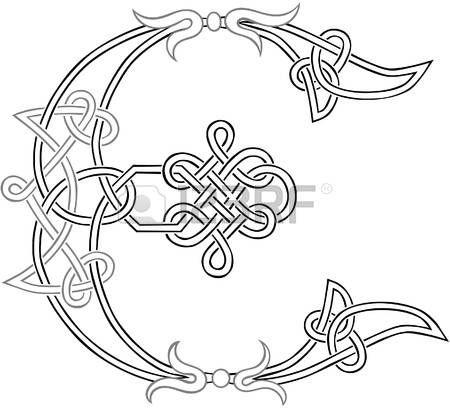 A Celtic Knot-work Capital Letter E Stylized Outline