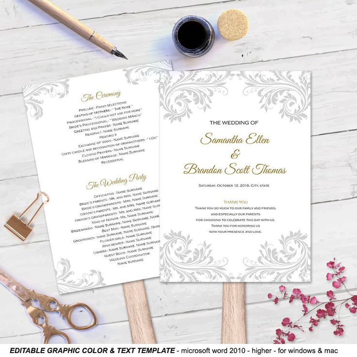 DIY wedding fan program| Fan wedding program templates| Printable| Instant download| Editable graphic color & text| You print| FEP| FP | T72 by WeddingInvitationByC on Etsy