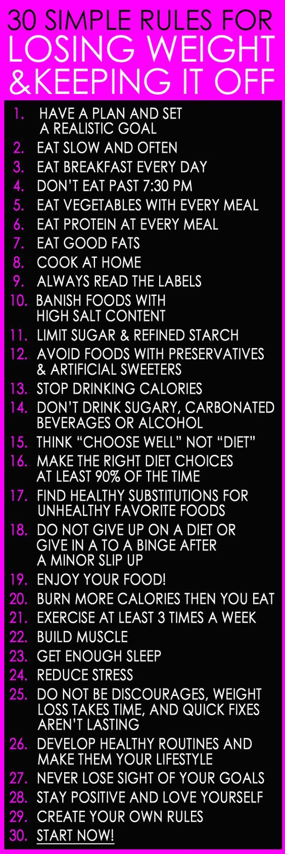 Apply these rules for losing weight.