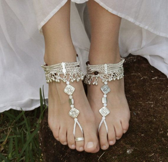 Barefoot anklet sandals, boho goddess, bellydancing, jewellery, flats, Sold as…