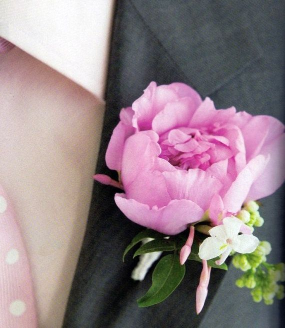 lilac and peony boutonniere artificial flowers by IrynaFleur