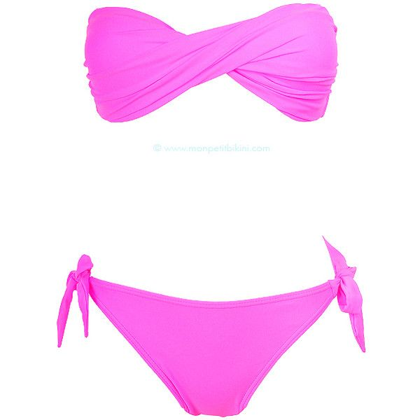 Maillot de bain deux pièces bandeau twisté rose fluo bonbon ($34) ❤ liked on Polyvore featuring swimwear, bikinis, bikini, swim, bathing suits, swimsuits, bathing suits bikini, petite bathing suits, swim suits and bikini swim suit