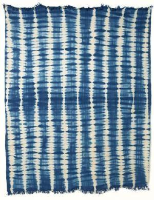 ブルキナファソ 藍染め布 絞り染め 大 11