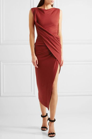 Burgundy stretch-jersey Slips on 68% viscose, 28% polyamide, 4% elastane Dry clean Designer color: Oxblood Made in Italy