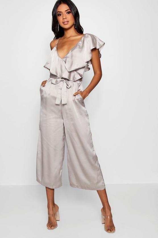 52cf91b236 Mia Asymmetric Neckline Wrap Culotte Jumpsuit Satin Jumpsuit