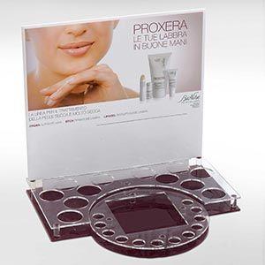 Espositore a 2 colori con alveoli personalizzati in plexiglass per cosmetici, farmaci, gioielli