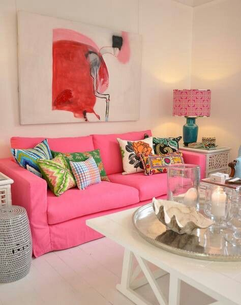 Love the bright pink couch.