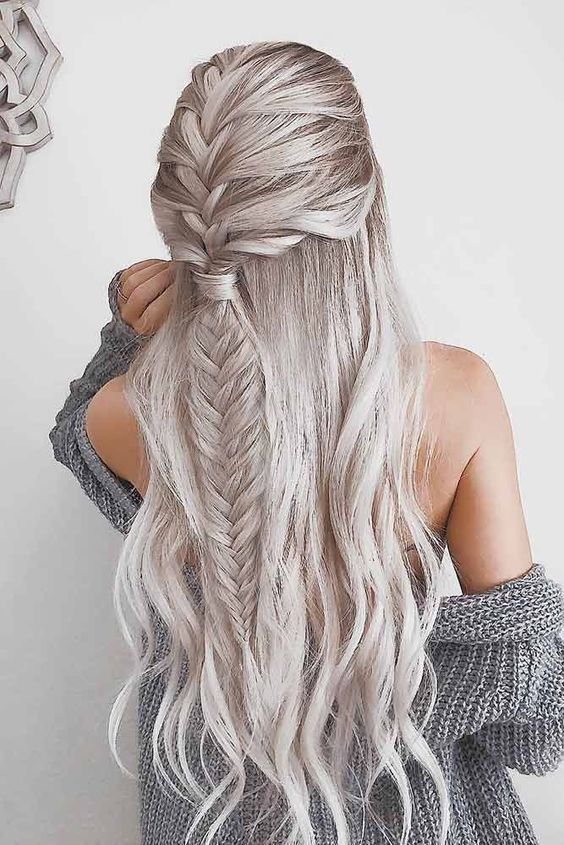 intricate fishtail braided hairstyle, perfect for winter silver hair color | date night hair ideas | valentine's day | hair color goals #hairstyles #haircolor #hair