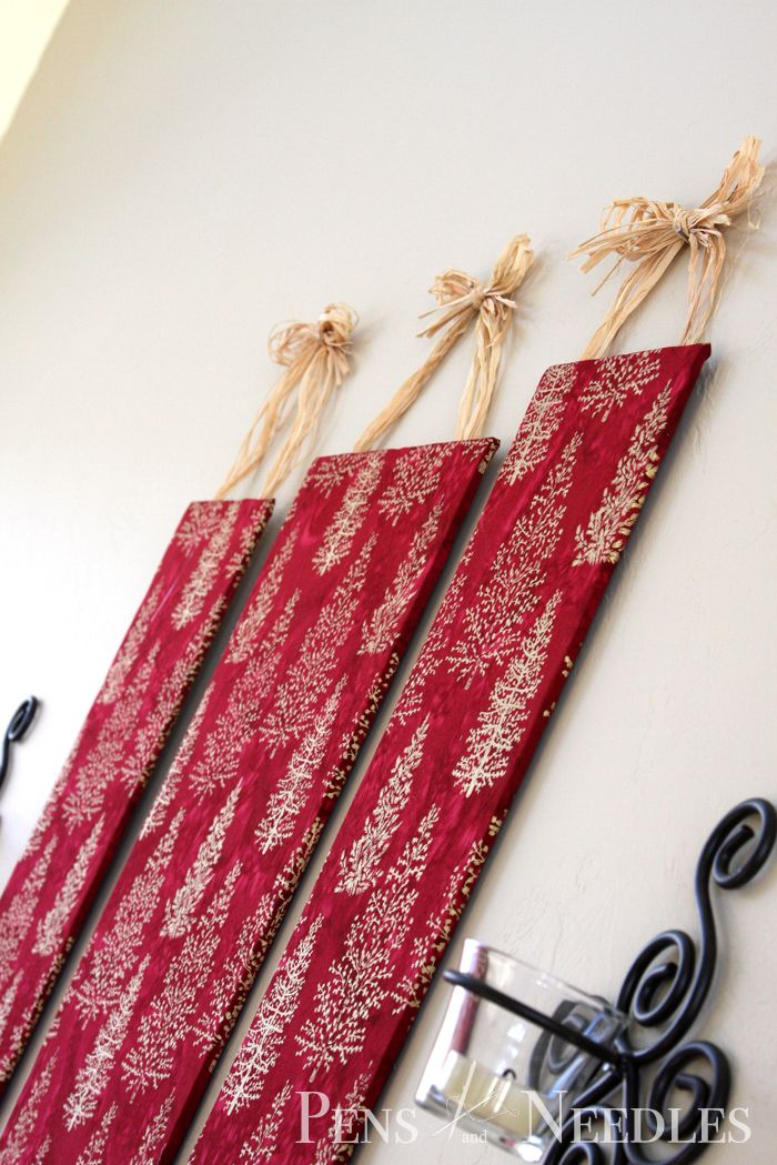 Christmas Wall Art - foam board, fabric, pin on your Christmas cards to display!