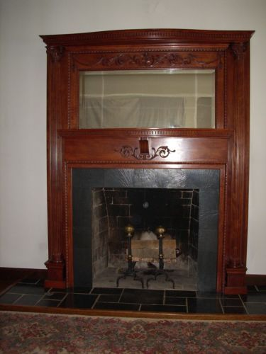 Antique Fireplace Mantel All Cherry Wood With Mirror Great Detail On Mantle Antique