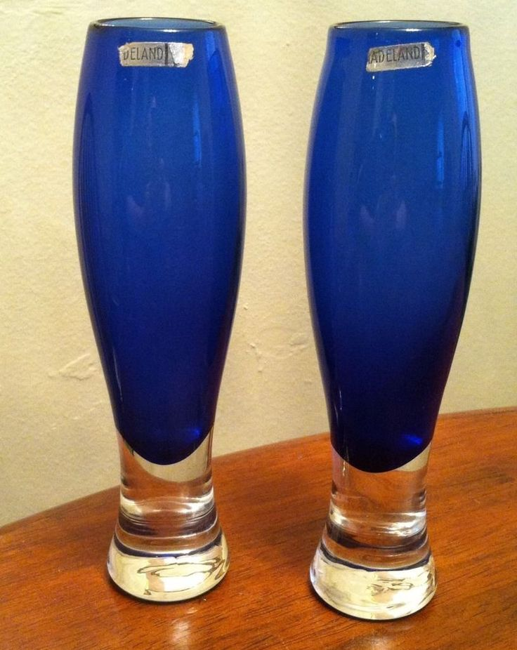 Set 2 Hadeland Norway Cobalt Blue Studio Art Glass Vase Midcentury Modern Label | eBay