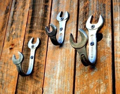 Bent wrenches for coat hooks.