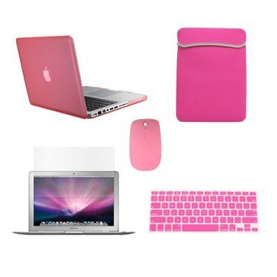 "Top Case Macbook Pro 13"" 13-inch (A1278 / with or without Thunderbolt) 5 in 1 Bundle - Rubberized Hard Case Cover + Matching Color Soft Sleeve Bag + Wireless Mouse + Silicone Keyboard Cover + LCD HD Clear Screen Protector - NOT FOR RETINA DISPLAY (PINK)"