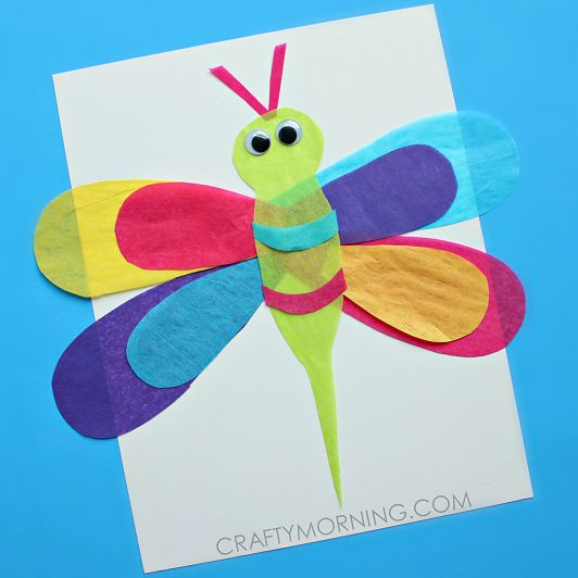 tissue paper dragonfly kids craft