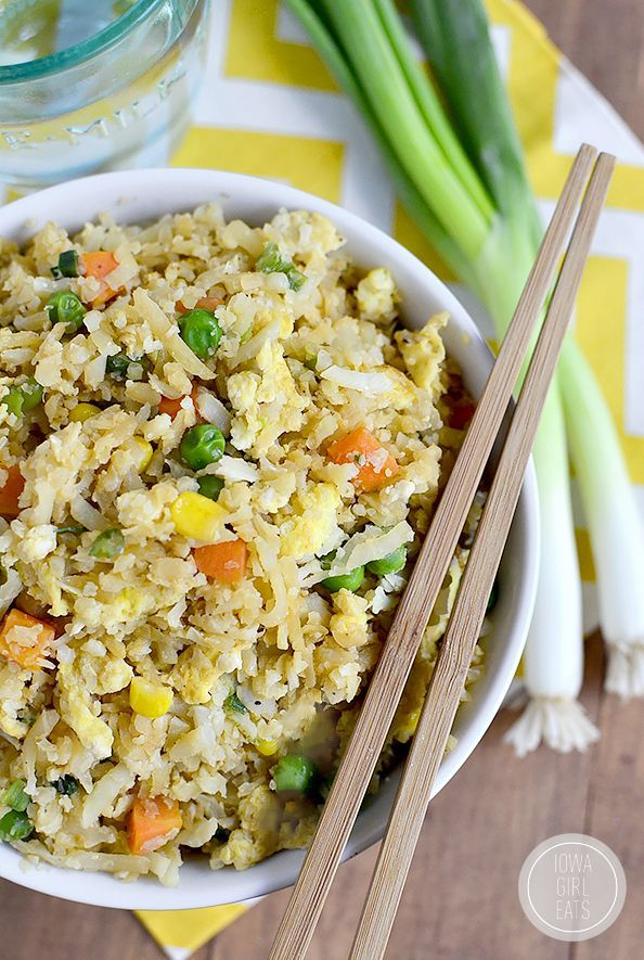 Cauliflower Fried Rice will trick your tastebuds in the best way possible. This 20 minute gluten-free, low-carb recipe will be a hit at your house! | http://iowagirleats.com