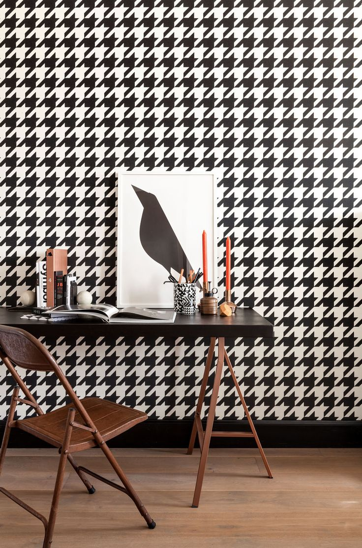 zwart wit Behang Pied de Poule black white Wallpaper dogtooths collection Art of Living - BN Wallcoverings