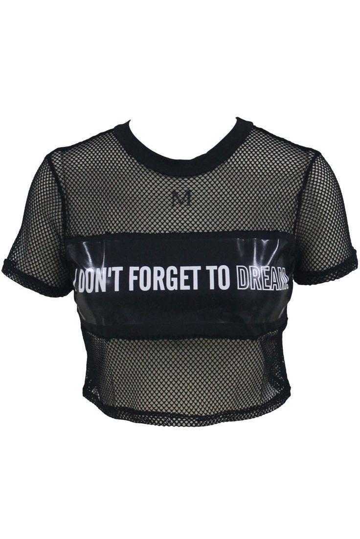 Black Metallic Panel Insert Mesh Crop Top