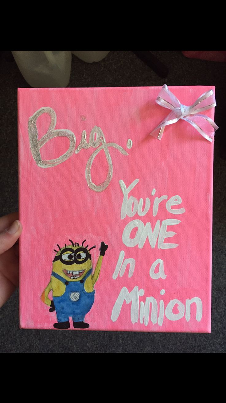 Big, you are one in a minion. Minion inspired canvas painting.