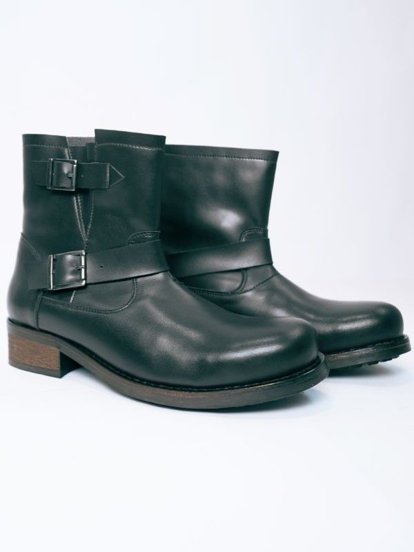 Vegan Vegetarian Non-Leather Mens Biker Boots in Black