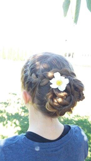 French braid into a curly bun