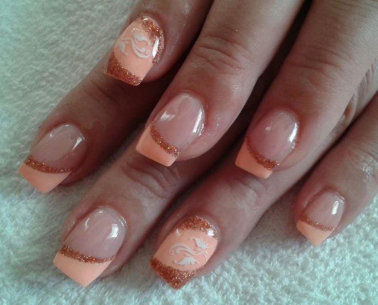 light orange nails