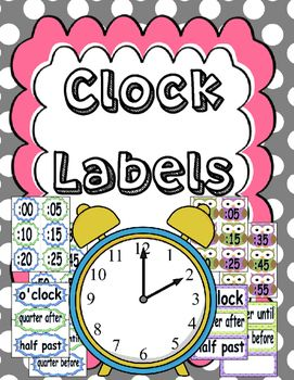 Analog Clock Labels for the classroom - free to download - owl theme included!