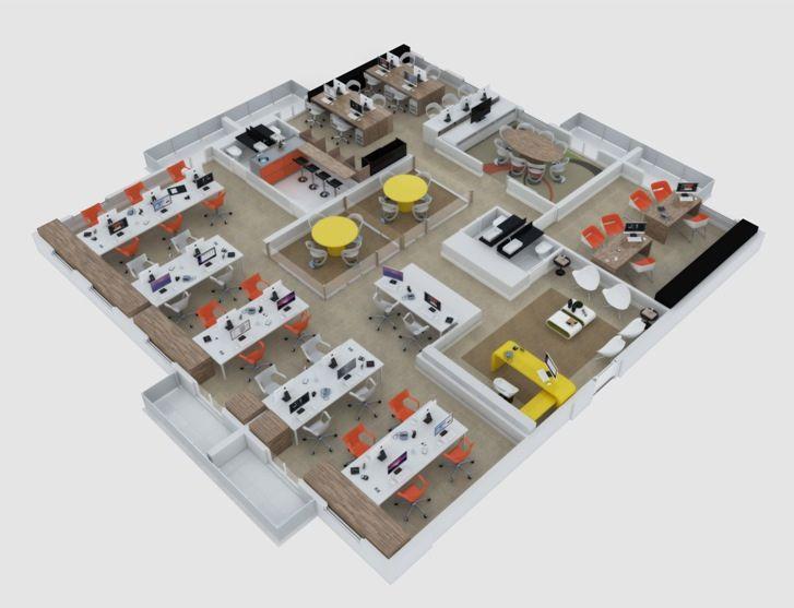 Perspectiva ilustrada - Junção 6 salas (Finais 09, 10, 11, 12, 13 e 14). Agência de publicidade   http://planoeplano.com.br/imovel/time-center-campinas
