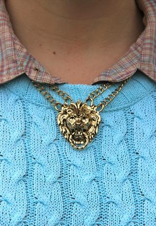 Lion Door Knocker Double Chain Necklace