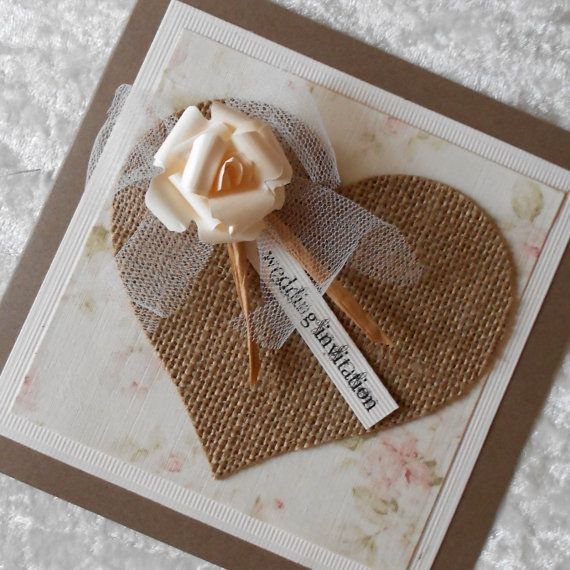 Rustic Wedding Invitations with Burlap Hessian Heart and Tulle (Ref 158) Each