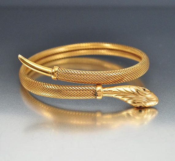 Art Deco Gold Filled Snake Bracelet Bangle Wrap Emerald Eyes Jewelry Ice Queen Bling Pinky Ring Pinterest