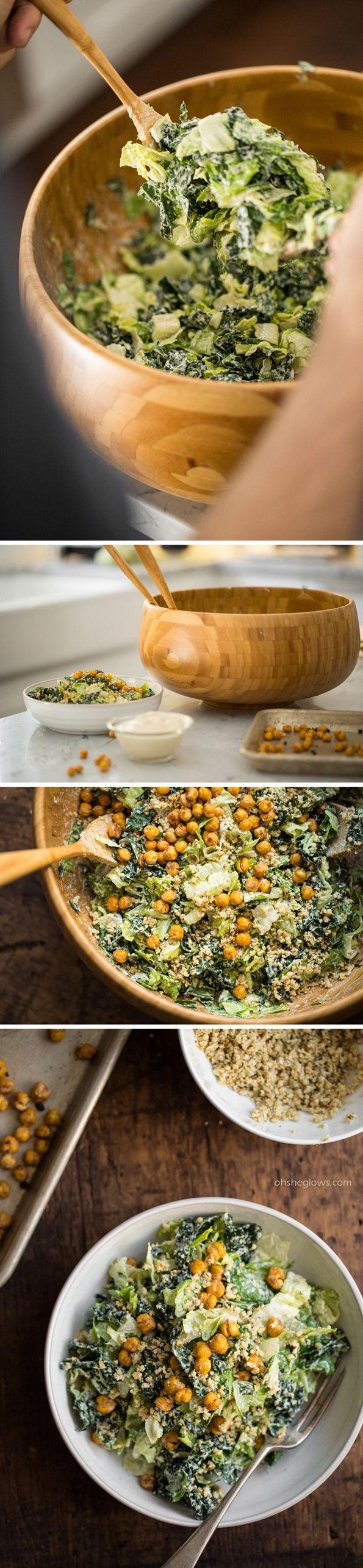 Crowd Pleasing Vegan Caesar Salad by ohsheglows #Salad #Caesar #Vegan #Healthy