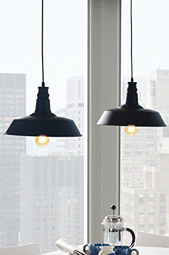 ... - PASCAL - Lampada/Lampadario da soffitto vintage industriale Nera