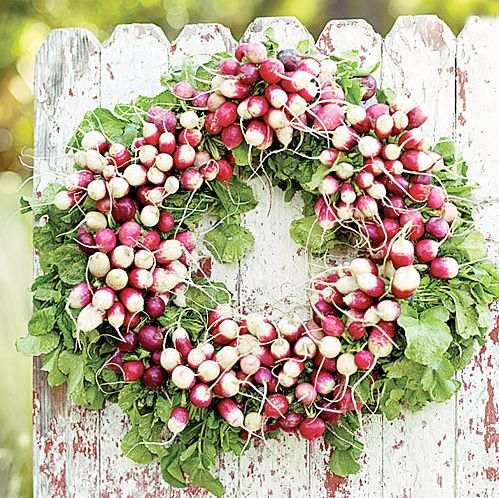 wreath of radishes: Ideas, Easter, Doors Decor, Summer Parties, Gardens Gates, Radish Wreaths, Beautiful Flowers Decor, Things, Crafts