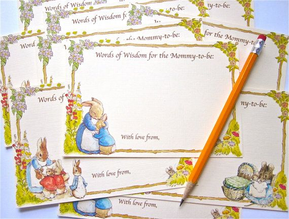 Baby Shower Advice Cards with Peter Rabbit by KidsAtHeartDesigns, $6.00 - @Marcie Henry This could be a cute game?