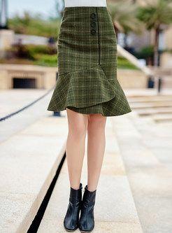 Elegant Plaid Splicing Falbala Bodycon Skirt