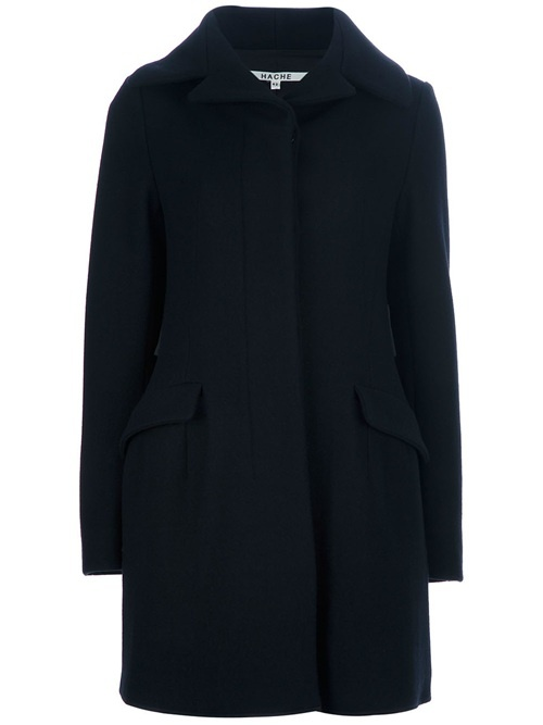 Black wool blend coat from Hache featuring notched lapels, a concealed front fastening, two front flap pockets, rear contrast belt detailing and long sleeves.