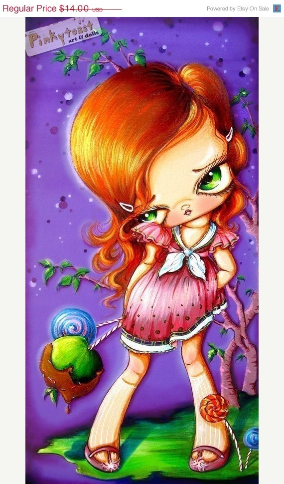 Sour ApplePurple Candy GirlPinkytoast Art Print5x10 by pinkytoast, $11.20