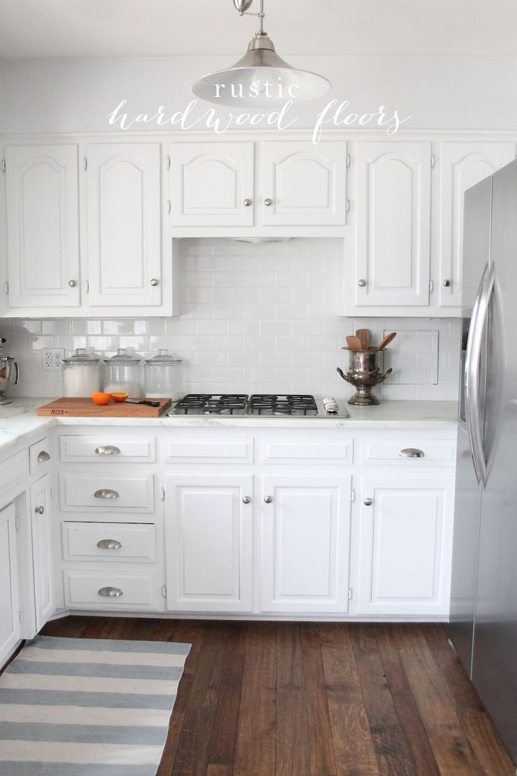 Kitchen with off white cabinets and dark wood floors high for White and wood kitchen