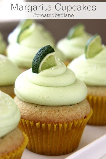Margarita cupcakes with tequilla or margarita mix for a non-alcoholic version. Delicious and great for Cinco de Mayo or any occasion.