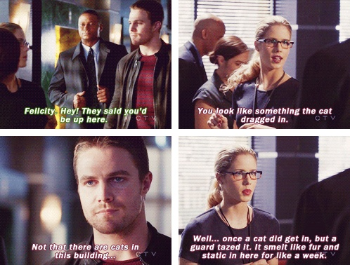 "Oliver: ""Felicity. Hey! They said you'd be up here."" Felicity: ""You look like something the cat dragged in. Not that there are cats in the building...Well...once a cat did get in, but a guard tazed it. It smelt like fur and static in here for like a week."""